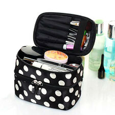 Portable Cosmetic Retro Dot Double Zipper Toiletry Travel Makeup Handbag Bag