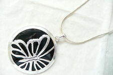 SILVER & BLACK NECKLACE - LARGE ROUND PENDANT WITH A BUTTERFLY DESIGN - NEW