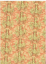 """Kathleen Francour """"Frou Frou"""" Fabric Cotton Quilt Wt Peach Yellow 2.6 Yd"""