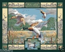 MALLARDS IN THE MARSH FABRIC Panel DUCK fabric quilt top wall hanging BTY  NEW