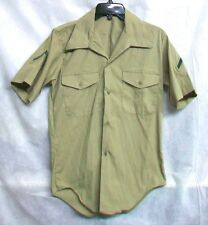 *XSALE U.S. MARINE CORPS 1985 USMC POLY/COTTON KHAKI QTRLS PFC RANK SHIRT- SMALL
