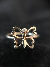 10k Solid Yellow Gold Diamond Butterfly Ring Bug Womens Size 5.5 1.42 Grams
