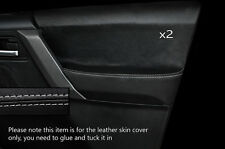 GREY STITCH 2X FRONT DOOR CARD SKIN COVERS FITS LAND ROVER FREELANDER 2 06-14