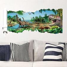 3D View Dinosaur Kids Room Decor Jurassic Park Wall Sticker Decal Mural PVC USA