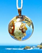 LARIMAR Positive Energy Orgone Dome Pendant with Rhodonite and Copper.