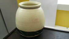 STUDIO WARE VASE IN CREAM WITH A DARK GREEN TRIANGULAR PATTERN COLUCCI ON BASE