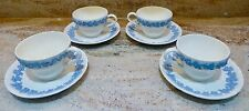 SET OF 4 - WEDGWOOD QUEENSWARE EMBOSSED LAVENDER ON CREAM  CUPS & SHELL SAUCERS