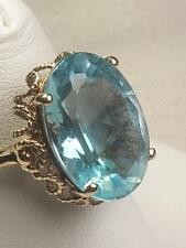 Gorgeous Ladies 10k Solid Yel GOLD Large 18mm Blue Topaz Filigree Ring Sz 7 3/8