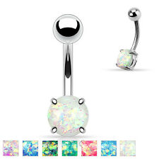 Surgical Steel Opal Glitter Prong Set Belly Bar Navel Rings