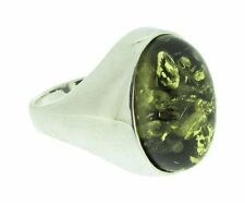 Silver ring with oval green amber, size T