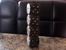 VINTAGE WOODEN DICE HOLDER WITH BRASS INLAY AND FOUR ORIGINAL DIE
