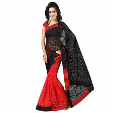 Designer Black & Red Embroidered Half & Half Net Brasso Saree With Blouse