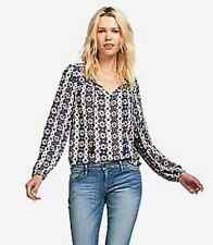 Lucky Brand - L - NWT - Navy Geometric Striped L/S Peasant Tunic Blouse Top