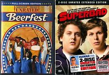 Beerfest (DVD, 2006, Unrated, FS) & Superbad (DVD, 2007, 2-Disc Set,WS, SE,U,EC)