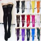 Sexy Womens Thick Lace Top Opaque Thigh High Stockings 15 Colors