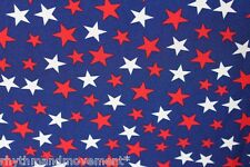 Dance Costume Fabric Royal Blue with White and Red Stars Lycra 50cm - 150cm wide