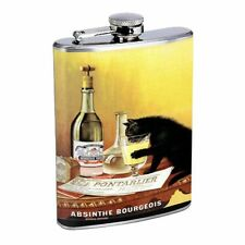 Absinthe Bourgeois Black Cat Flask D62 8oz Stainless Steel Cat Drinking on Table