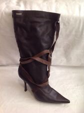 MORGAN Brown Mid Calf Leather Boots Size 41
