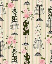 Mademoiselle - Rose Garden Dress Forms - Pastel Pink, 100% cotton fabric