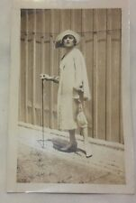 Vintage Old 1920's Photo of Flapper Girl Woman Posing Great Hat Fashion & Purse