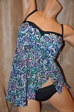 Gottex Profile 16 2PC Sheer Fly Away Bandeau Tankini Panty SwimSuit Stain Glass