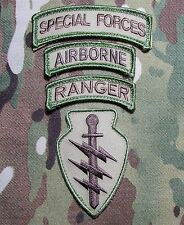 SPECIAL FORCES AIRBORNE RANGER 4 PATCH HOOK SET USA MILITARY US MULTICAM BADGE