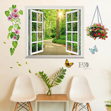 Flower Butterfly 3D Window Mural Removable Wall Stickers Vinyl Decals Room Decor