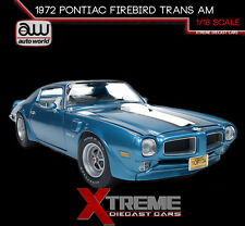 AUTOWORLD AMM1076 1:18 1972 PONTIAC FIREBIRD TRANS AM BLUE 455 HO LTD TO 1002PC