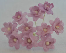 50 PALE LILAC CHERRY BLOSSOM Mulberry Paper Flowers wedding miniature card