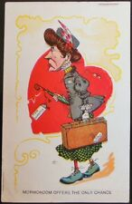 """OLD WOMAN """"MAN WANTED""""-MORMONDOM OFFERS ONLY-VINTAGE VALENTINE? COMIC? POSTCARD"""