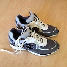 Chanel Gray, White, Silver Sneakers Tennis Shoes Fashion, EU 41
