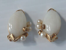 PAIR 14K GOLD CLIP-ON EARRINGS W/ LARGE NEAR WHITE JADE STONE & 3 PEARL CLUSTER