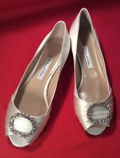 NIB Oscar De La Renta White Satin Peep toe Flat Shoes Bridal 38 1/2