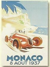 PLAQUE METAL 20X15 GRAND PRIX AUTOMOBILE 1937 DE MONACO