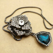 Black Crystal Rose sweater chain Fashion charm necklace HH425