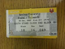 28/12/2005 Ticket: Arsenal v Portsmouth [Yellow Ticket] . Thanks for viewing thi