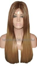 "Remy Human Hair Wig Full Lace 22"" Long Wavy Brown 4 Dark Blonde 27 Ombre Roots"