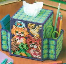 DESKTOP PETS TISSUE BOX COVER & CADDY PLASTIC CANVAS PATTERN INSTRUCTIONS ONLY