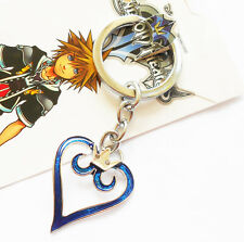 Anime Kingdom Hearts Crown Blue Heart Pendant keychain keyring key chain Charm