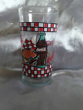 COCA COLA DRINKING GLASS WITH HOT DOG AND HAMBURGER PRINT
