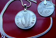 "LOVELY  1980 Lucky IRELAND HARP COIN Pendant on a  30"" 925 Silver Snake Chain"