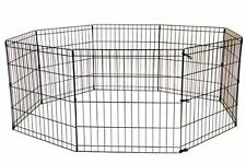 24 Tall Dog Playpen Crate Fence Pet Kennel Play Pen Exercise Cage -8 Panel Black