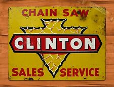 """TIN-UPS TIN SIGN """"Clinton Chain Saw Sales And Service"""" Vintage Rustic Wall Decor"""