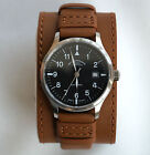 Genuine Leather Watch Cuff Strap Band for Muhle Glashutte brown 20mm / Armband