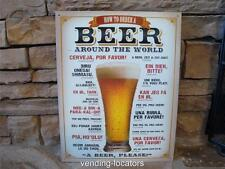 "How To Order BEER 12.5"" x 16"" Vintage Style Metal Tin Budweiser Coors Man Cave"
