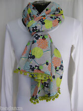 """NEW"" TRANSAT BOUTIQUE CHECHE ECHARPE FOULARD ""BLA BLA"" POMPONS GRIS COLORE"