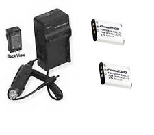 TWO 2 Batteries + Charger for Pentax Optio D-LI78 DLI78 M50 M60 S1 V20 W60 W80
