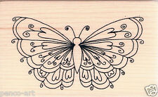 Inca 3D heart butterfly rubber stamp on wooden wood block 8348e wingspan 7.4cm