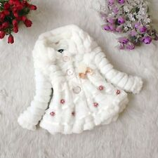 Baby Girls Faux Fur Fleece Lined Winter Outwear Jacket Coat Dress