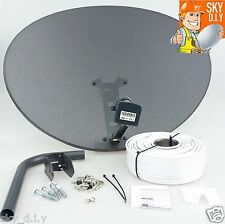 Freesat / Sky 80cm zone 2 satellite dish & quad lnb + 20m RG6 White install kit